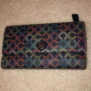 Coach logo colorful wallet with checkbook